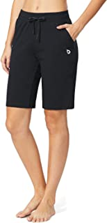 Women's Yoga Bermuda Shorts Active Cotton Sweat Pants Gym Workout Lounge Long Shorts w Pockets