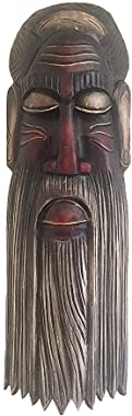 """OMA African Mask Wall Hanging Wise Man Blessing & Protection Home Wall Decor Solid Wood Hand Crafted Large 20"""""""
