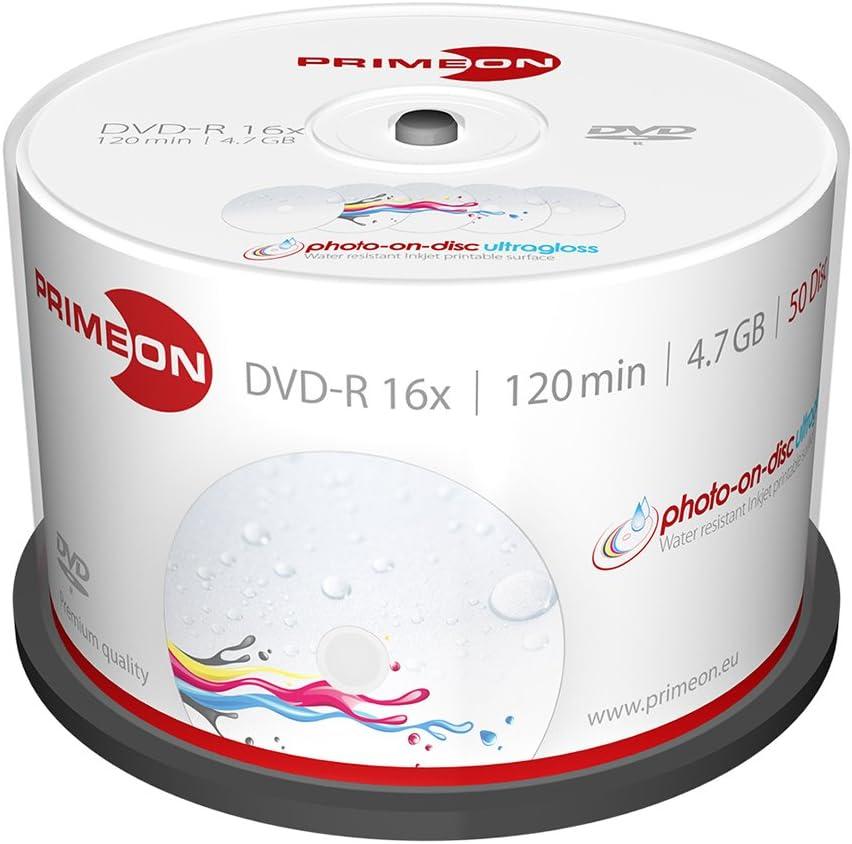 Primeon Dvd R 4 7gb 120min 16x Cakebox Photo On Disc Computer Zubehör