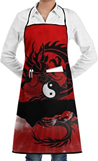 EEMNJIHH Yin Yang Dragon Personalized Apron Easy Care Full-Length Apron with Stain Release, Adult Bib Aprons