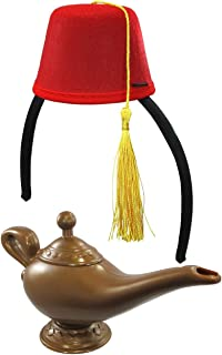 Red Fez Hat Headband and Magic Lamp Costume Set, Multi, One Size
