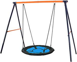 "SUPER DEAL Swing Set, 40"" Kids Web Tree Swing Saucer Swing + 72"" All-Steel All.."