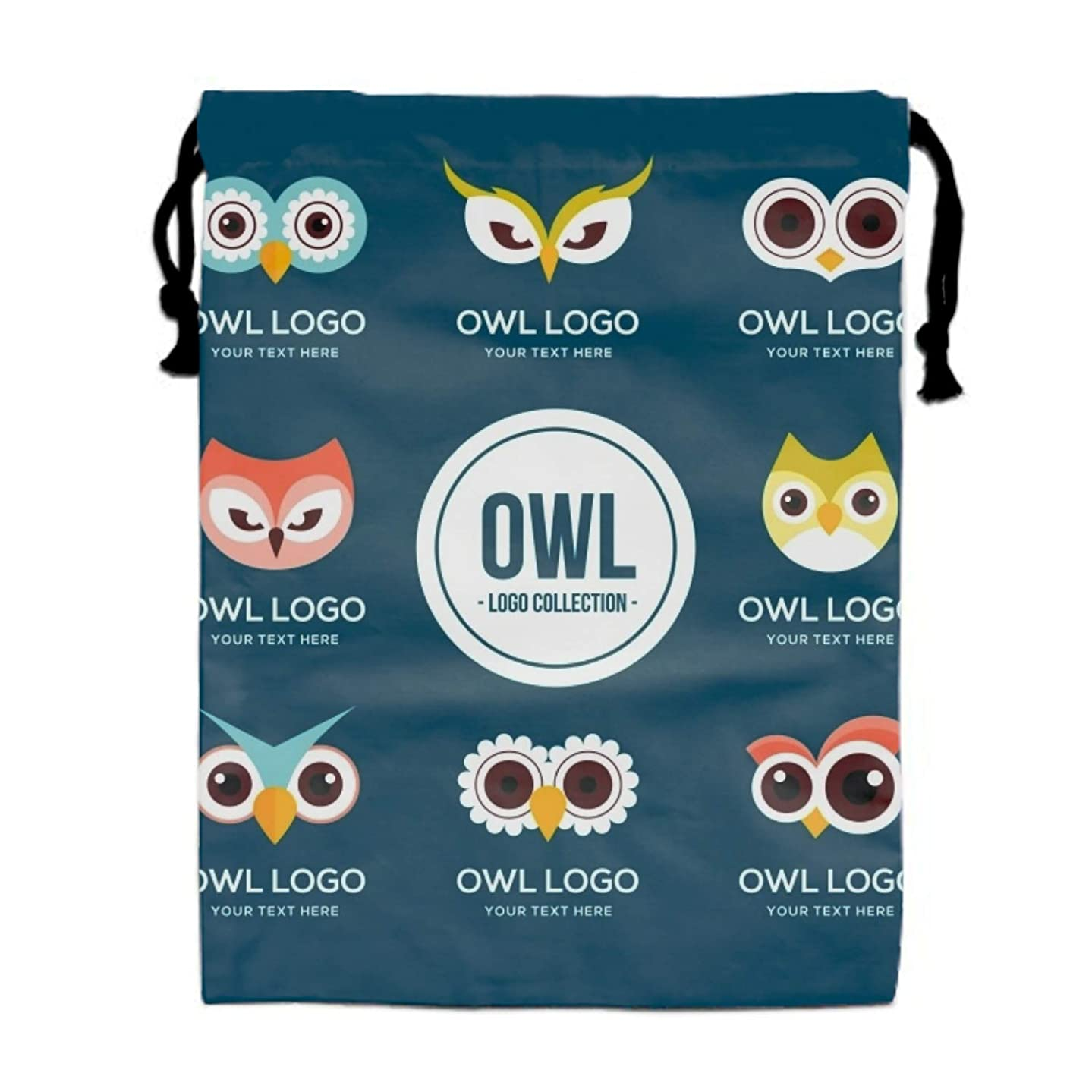 Funny Owl Logo Set Drawstring Backpack Bags Goody Bags Party Favor Bags Supplies for Boys and Girls