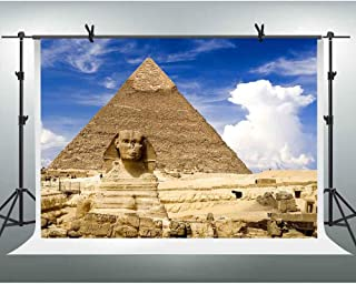 FHZON 10x7ft Egyptian Pyramid Face Image Photography Backdrops Blue Sky White Clouds Background Themed Party Wallpaper Photo Video Booth Props LSFH616