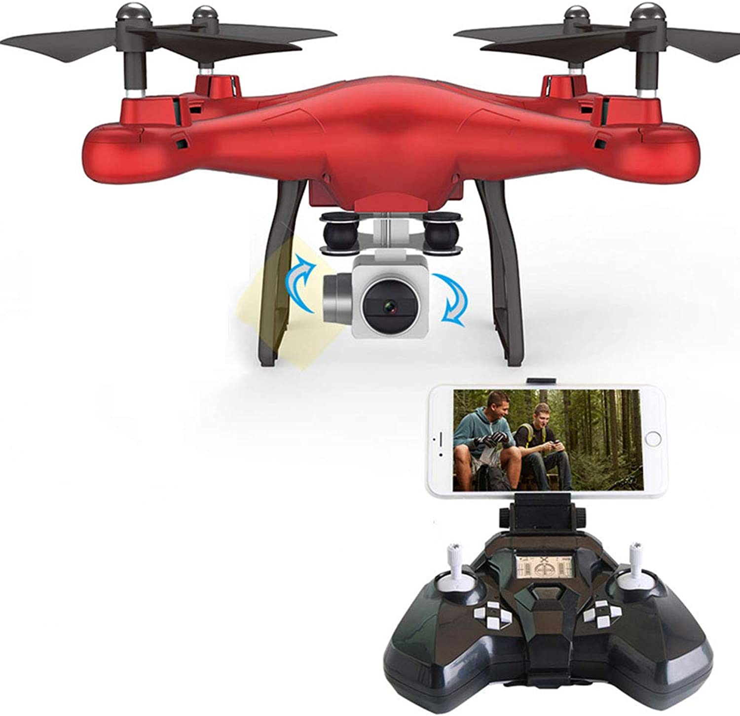 FPV RC drone quadcopter professional 200W HD 720P aerial photography realtime WIFI map transmission Headless Mode One Key Return Trajectory Flight,Red