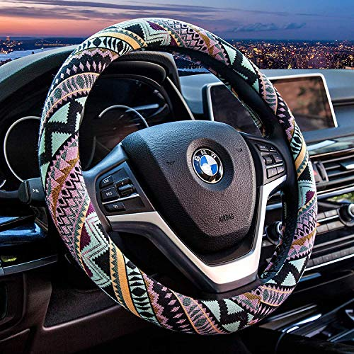 Valleycomfy Maya Universal 15 inch Steering Wheel Covers with Cloth for Women