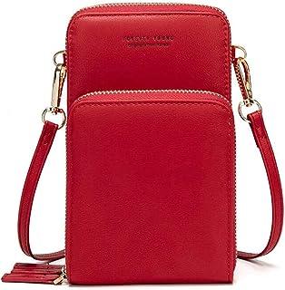 Bolso de teléfono móvil para mujer Monedero de cartera cruzada Mini bolso de teléfono celular cruzado de cuero ligero con ...