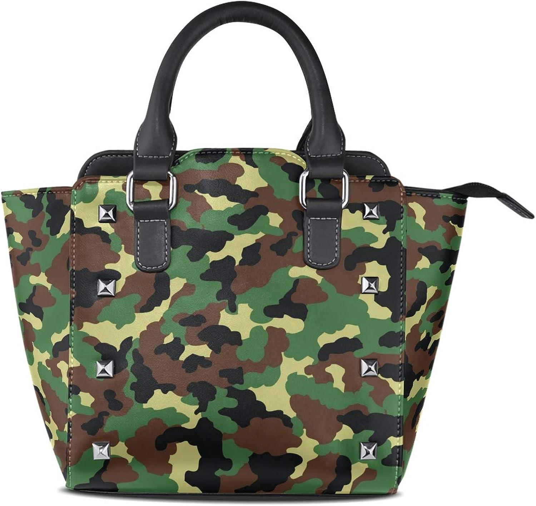 Women's Top Handle Satchel Handbag Classic Military Green Camouflage Ladies PU Leather Shoulder Bag Crossbody Bag