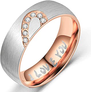 JANEZ Love Rings, Promise with Design Best Gifts for Love Womens 4mm Titanium Steel Ring, Crystals Ring