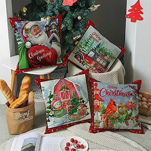 Juego de 4 Fundas Cojines Navidad Decorativos, Papá Noel Camión Campo Rústico Cardenales Aves 45x45 cm Decorativa Hogar Funda de Almohada Cojín para Cama Sofás Sala de Estar Dormitorio Rojo Verde