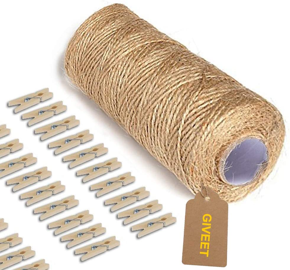 Manufacturer regenerated product Giveet 328 Feet Natural Jute Twine and 100 trend rank Mini Clothespi Pieces