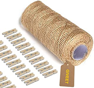 Giveet 328 Feet Natural Jute Twine and 100 Pieces Mini Clothespins, Multi-Purpose Arts Crafts Twine Industrial Heavy Duty ...