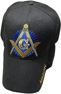 Black and Gold Mason Masons Freemason (Black Shadow) Masonic Lodge Ball Cap Hat One Size Fits Most with Adjustable Strap,Hoop and Loop Closure