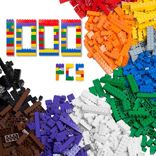 Barcaloo 1000 Piece Building Bricks Set- 10 Classic Colors Guaranteed Tight Fit, Compatible with All Major Brands
