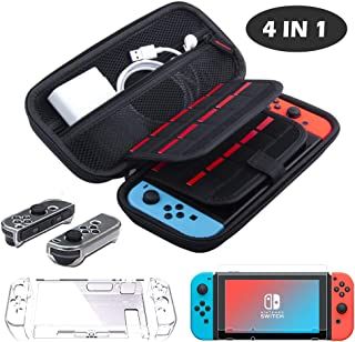 4in 1 Accessories Kit for Nintendo Switch Protective Accessories Cover Case for Nintendo Switch Game Card Slots,Transparen...