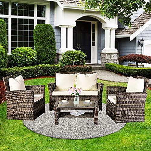yangdan Q 4 piezas de muebles de patio al aire libre, juego de bistro, juego de conversación de mimbre para cubierta de porche, silla de sofá de ratán gris con cojín