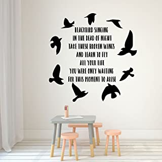Beatles Blackbird Wall Decal - Inspirational Song Lyrics Vinyl Lettering with Bird Silhouettes - Music Themed Mural Sticker