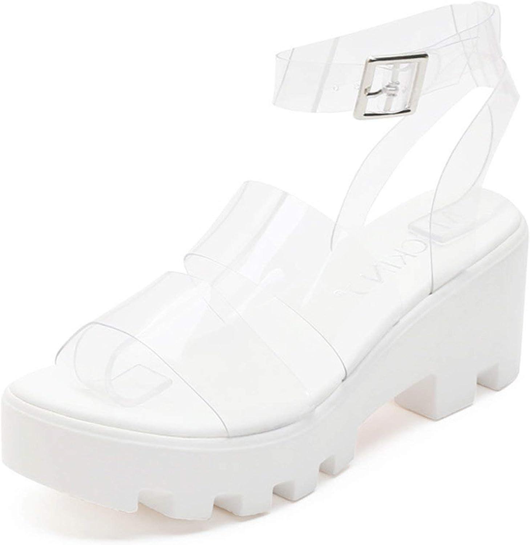 MACKIN J 597-1 Clear Strappy Platform Sandals Open Toe Ankle Strap Platforms