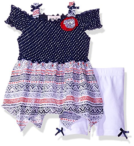 Little Lass Baby Mädchen Fahrrad-Shorts, Bedruckt, 2-teilig -  Blau -  18 Monate