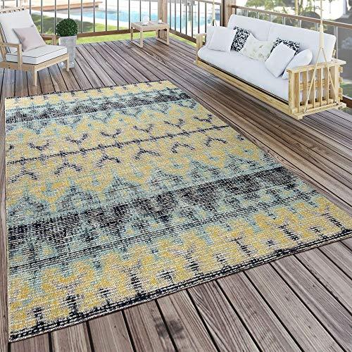 Paco Home In- & Outdoor Teppich Modern Nomaden Design Terrassen Teppich Wetterfest Bunt, Grösse:80x250 cm