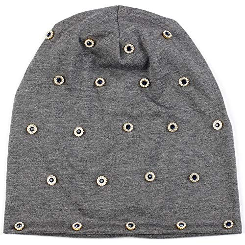 Gorro Beanie Sombrero Hat Gorros Casuales con Anillo De Metal con Diamantes De Imitación para Mujer, Gorros De Punto Acanalados De Algodón Holgados, Gris Oscuro