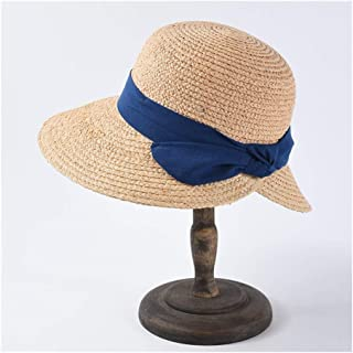 Spring and Summer Hats Visor Ladies Bow Big hat` TuanTuan (Color : Blue, Size : The Adjustable)