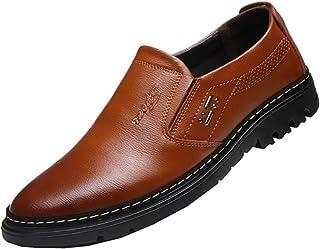Zapatos de Negocios para Hombre Zapatos Oxford de Cuero sin Cordones Zapatos de Vestir de Fiesta de Boda de Primavera Moca...