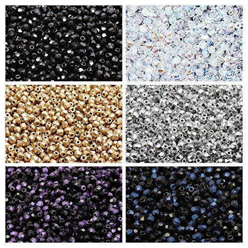 Perle di vetro ceco Fire-Polishedº rotonde 3mm. Set 315: 6 colori, totali di 600 perline (1/2 Mass), 3FP001 3FP002 3FP007 3FP033 3FP052 3FP054