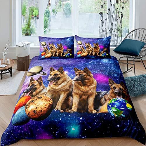 Juego de ropa de cama para mascotas y perros con funda de edredón para niños, niñas, niñas, galaxia, estrellas, funda de edredón ultra suave, funda de edredón de tamaño individual con cremallera