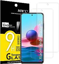 NEW'C Lot de 2, Verre Trempé Compatible avec Xiaomi Redmi Note 10, Redmi Note 10S, Film Protection écran sans Bulles d'air Ultra Résistant (0,33mm HD Ultra Transparent) Dureté 9H Glass
