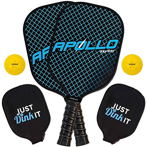 Apollo Pickleball Paddle Set | Pickleball Set Includes Graphite Pickleball Paddle + 2 Pickle-Balls + Paddle Cover | Premium Lightweight Graphite Pickle Ball Racket Set with Polymer Honeycomb Core