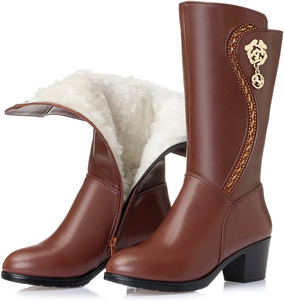 Women's Leather Wool Lined Warm Winter Anti Slip Zip Mid-calf Boot Snow Boots
