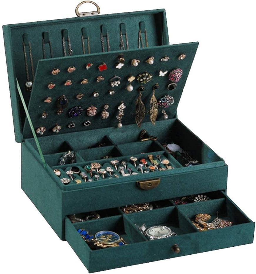 TEAYASON 2-Layer Jewelry Ranking Indefinitely TOP16 Box Green Dark Vintage Organize
