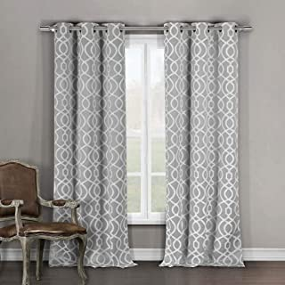 Duck River Textile Home Fashion Geometric Blackout Darkening Grommet Top Window Curtains Pair Drapes for Bedroom, Living Room-Set of 2 Panels, 36 X 84, Grey