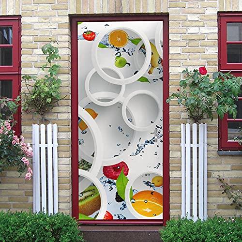 LuSeven vinilos decorativos pared 3d Fruta naranja kiwi círculo 85x215cm(33.46 inches * 84.64 inches) Etiqueta engomada del arte de las etiquetas engomadas de la pared 3D DIY, decoración casera autoad