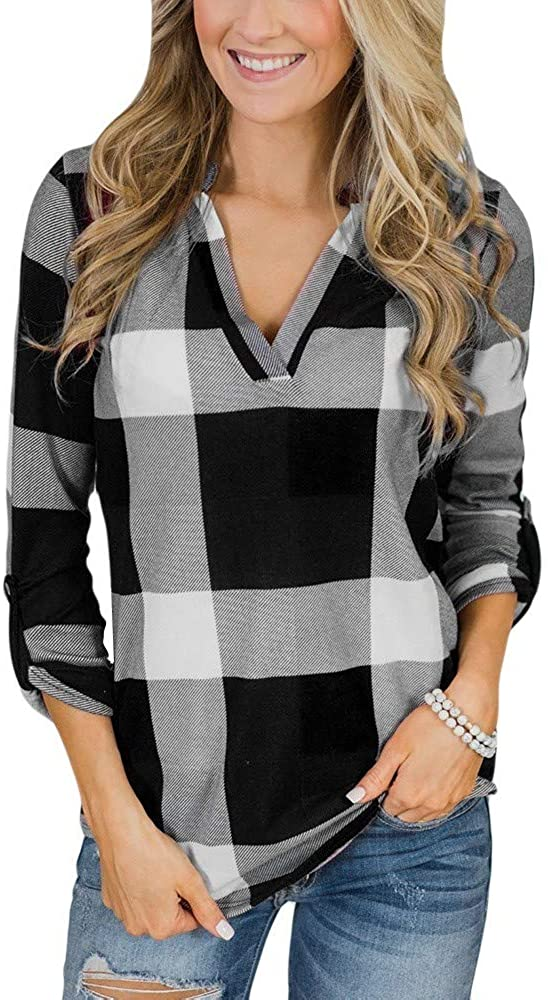 Womens Long Sleeve Plaid Shirts Sexy Henley V Neck Tops Plus Size Casual Loose Tunic T-Shirt Blouses, S-5XL