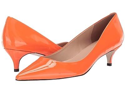 Massimo Matteo Pointy Toe Kitten Heel (Orange Patent) Women