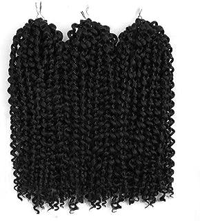 3Pcs/lot Jerry Curl Crochet Braids Hair Extensions Freetress Deep Twist Water Wave For Women Black Synthetic Crochet Braiding Hair Bundles (10 inch, 1)