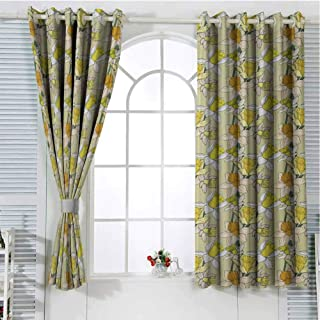 FreeKite Garden Art Black Out Window Curtain 2 Panel Narcissus Flowers Bouquet Colorful Jonquil Blooms Hand Drawn Spring Pattern Living Room Curtains for Bedroom W107 x L107 Inch Multicolor