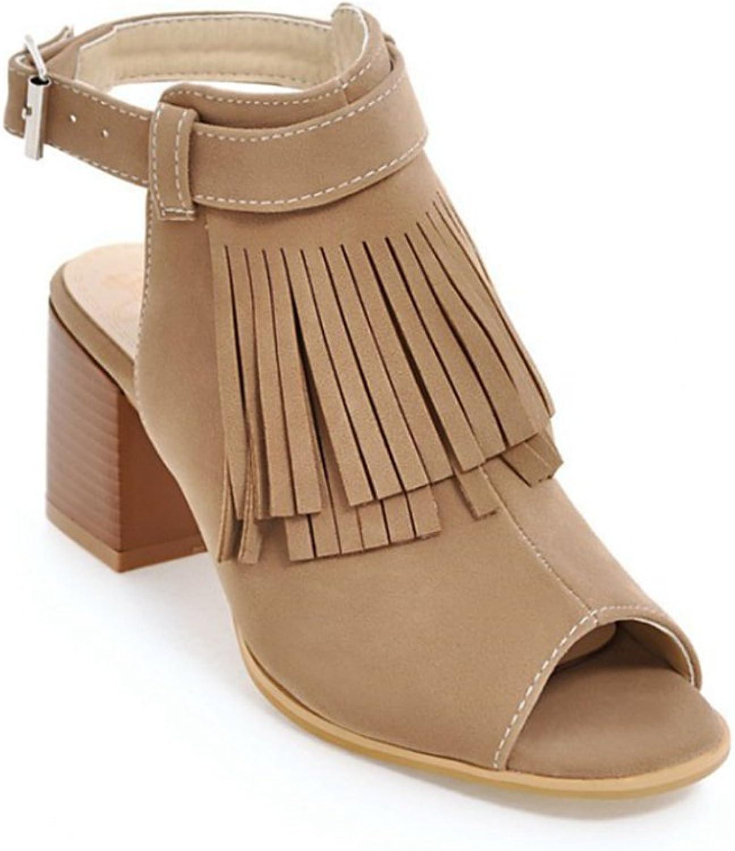 Women's Sweet Tassel Heeled Sandals Block Chunky Roman shoes Summer Dress shoes Ankle Buckle Design