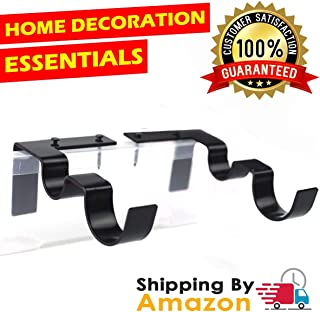 Great Home Double Curtain Rod Brackets Set Curtain Rod Holders No DrillingTap Right into Window Frame Curtain Brackets for Window