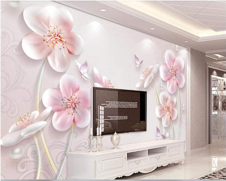 Mbwlkj Papel pintado Para Parojoes 3D En Relieve Ciruela Moderna Minimalista Tv Europea Fondo Papel pintado Mural 3D-200cmx140cm