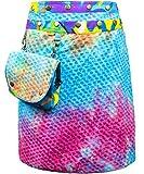 Sunsa Damen Rock Minirock Sommerrock Wickelrock Wenderock aus Baumwolle, Zwei optisch verschiedene Röcke mit einem abnehmbaren Täschchen, Größe ist variabel verstellbar durch Druckknöpfe