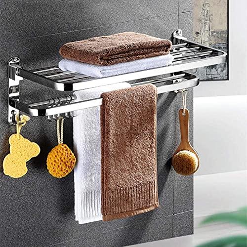 Porta-toalhas, barra multitoalha, prateleira de aço inoxidável de camada dupla, suporte de toalha de parede com ganchos, para cozinha de banheiro - B-40 cm