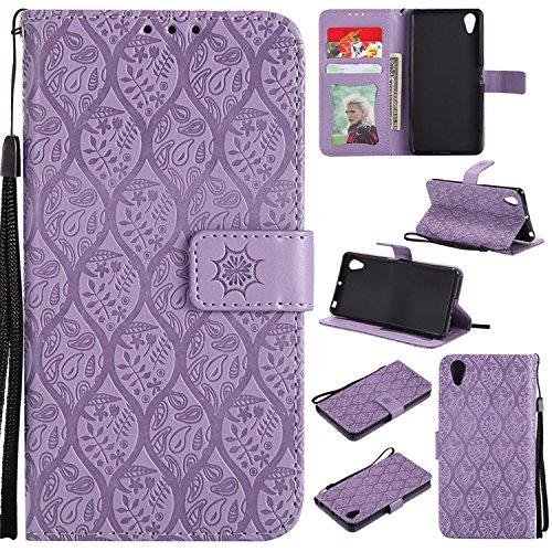 Guran PU Leder Tasche Etui für Sony Xperia X Performance (5.0 zoll) Smartphone Flip Cover Stand Hülle & Karte Slot Rattan Hülle - lila