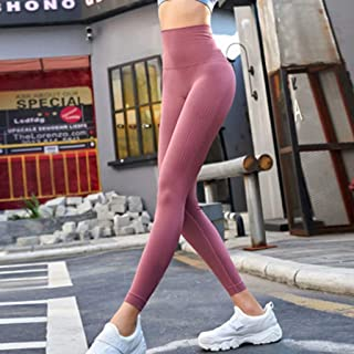 Tight Yoga Pants Female Stretch Hip Running Fitness Sports Pants,Pink(S)