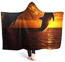 Throw Blanket Killer Whales for Funny Fleece Hooded Lazy Lightweight Quilt Sofa Couch for Girls/Women 60