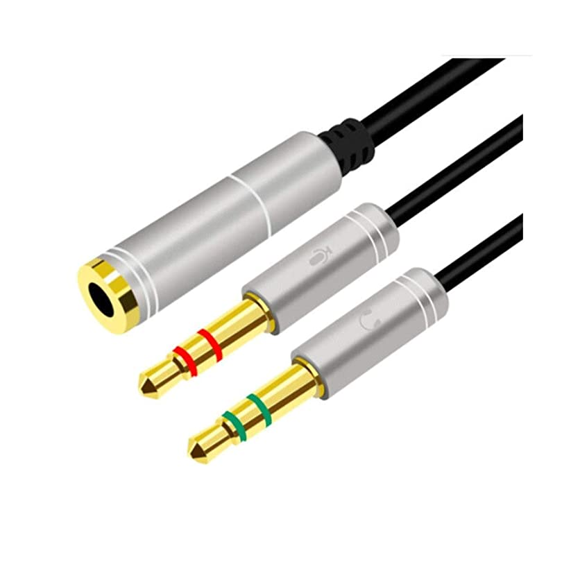 代わっておんどり計画的PFKE オーディオケーブル、ヘッドセットマイク3.5ミリメートルの携帯電話のオーディオケーブル、二つに一つのカップルヘッドセットコンバータ、ノートパソコンのヘッドセットスプリッタ シンプルで実用的な製品 (Color : Silver)