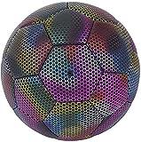 MARIJEE Balones de Fútbol LED Reflectantes Brillantes, Fútbol PU Reflectante Tamaño 4, Tamaño 5 Fútbol Tradicional Balón de Fútbol para Entrenamiento de Fútbol para Niños Adultos