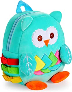 Toddler Backpack with Buckles, Kids Plush Bookbag, Children's Travel Activity